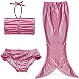 EFE Maillot de bain 3 pièces Costume Déguisement Bébé Queue de Sirène (Top + Shorts/Culotte + Jupe) Set de Bain Plage Petite Filles (4-5 ans, Rose°2)