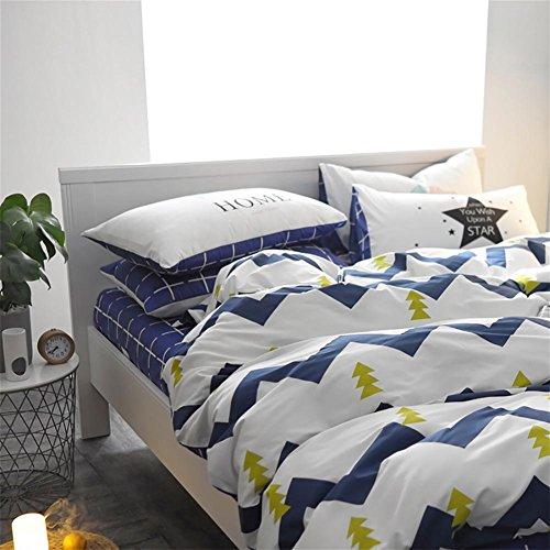 FJLOVE gestreifte 4 teilige Bettwäsche-Set aus Baumwolle, enthält einen Bettbezug, einen Betttuch und 2 Kissenbezüge, in 2 unterschiedliche Größe, Muster von kleinen grünen Bäumen, weiß, 160*210
