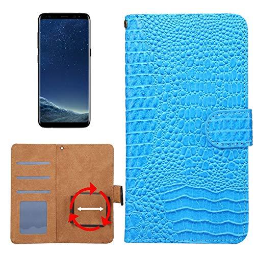 Krokodil-drehung (Allshopstock (#52) für Kompatibel mit : Galaxy S8 & S7 Edge & Kompatibel mit : Huawei P9 Plus Universal Drehung Klammer Krokodil Textur Flip- Leder-Etui (Blau))