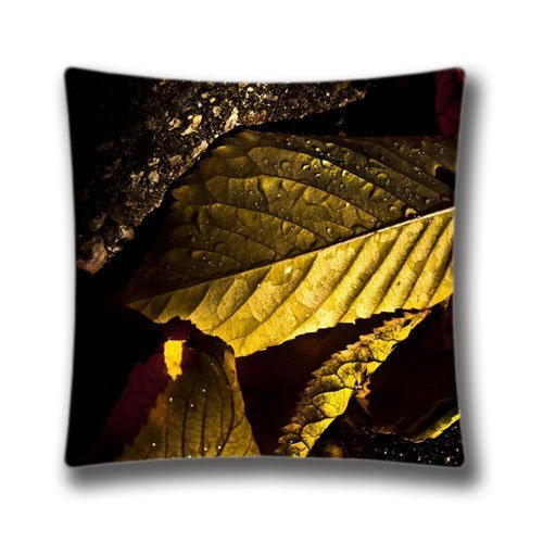 Zipper Design Wet Leaves Macro Autumn Throw