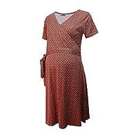 Emzirme Özellikli Kırmızı-Siyah Puantiyeli Hamile Elbise
