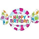 paduTec Heliumballon XXL Folienballon - Happy Birthday Bonbon - Geburtstag Deko - mit Helium gefüllt