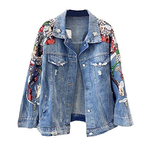 LSHEL Frühling Neue Jeans lose Stickerei Ärmel Perlen Pailletten dünne Jeansjacke Damen, Blau, XS - Stickerei-lange Jacke