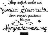 CLICKANDPRINT Aufkleber » Am zweiten Stern rechts, 30x20,2cm, Schwarz • Wandtattoo / Wandaufkleber / Wandsticker / Wanddeko / Vinyl