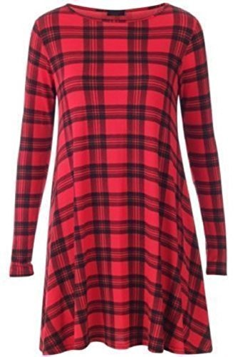 Damen Kleid Langarm Kariert Schottenmuster Swing Ausgestellt Kleid Top Übergröße EU 36-54 - Rot Schottenmuster, XXL/XXXL EU 52-54 (Rot Karierte Kleid Kostüm)