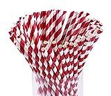 Webake 144 Stück- Set Papier Trinkhalme Papierhalme für Geburtstag Hochzeit Weichnachten Kinder Party - Rot- Weiß
