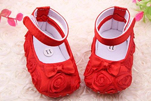 Smile YKK Schleife Deko Seidenstoff Baby-Mädchen Krabbelschuhe Lauflernschuhe 12 Pink Rot