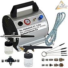 Profi AirBrush SET BEAUTY MAXX - Compresor pulverizador y accesorios, 2 pistolas, 10 adaptadores de compresor, manguera, cepillos de limpieza y distribuidor triple