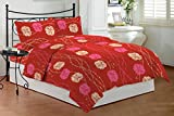 Bombay Dyeing Tulipia 100 TC Polycotton Double Bedsheet and 2 Pillow Covers - Red