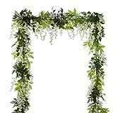4 rami di fiori artificiali in seta di 2 m, glicine per decorazione di giardino e matrimoni White
