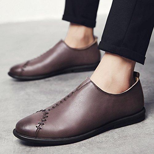 Mocasín De Sutura De Cuero Pu De Yiiquan De Los Hombres De Otoño Estilo Casual Zapatos Ligeros De Color Marrón Oscuro Transpirable