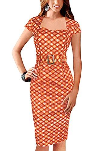 Lymanchi Damen Cocktailkleid 1950er Jahre Business Stretch Kleider mit Gürtel Orange