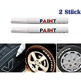 INION® 101934 WIT/WIT 2 stuks bandenmarkeerstiften voor auto, motorfiets, fietsbandenmarkeerstift bandenstift marker stiftops