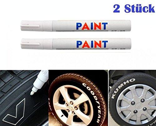 WEIß / WEISS 2x Stück Reifen Stift Reifenmarker Auto, Motorrad, Fahrradreifen Reifenmarkierungsstift Reifenstift Marker Stift Beschriftung wasserfest wetterfest -101934- INION®