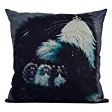 DODOING 45x45cm Vintage Black White Cat Cotton Linen Square Throw Pillow Case Sofa Cushion Covers Party Home Dcor(Not include pillow inner)