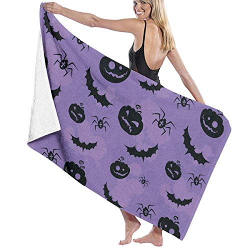 te de bain, Halloween Pumpkin Bats and Spiders Premium 100% Polyester Large Beach Towel, Suitable for Hotel, Swimming Pool, Gym, Beach, Natural, Soft, Quick Drying ()