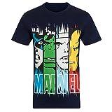 Marvel Comics - Camiseta oficial para hombre - Con personajes de los cómics - Azul marino - Medium