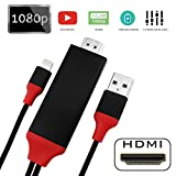 Lightning to HDMI Adapter Cable, 6.6ft 1080P HDMI Video AV Cable Connector Conversion HDTV Adapter for iPhone,iPad,iPod Models (Black)