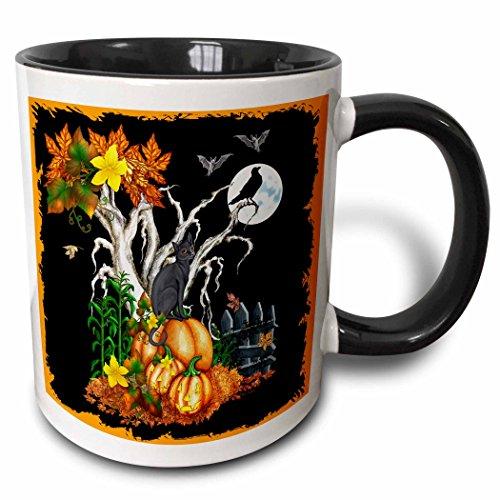 3drose Halloween Nacht mit eine schwarze Katze, Creepy Baum, Full Moon, Fledermäuse und Jack O Laternen zweifarbig schwarz Tasse, 11Oz, schwarz/weiß