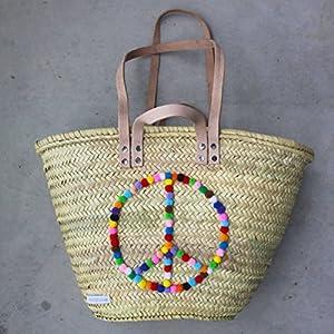 Ibizakorb 'Peace' / Korbtasche / Moroccan basket helle Henkel