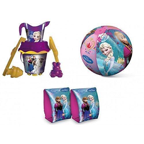 Lively Moments Strandset mit 7 teiligem Eimer / Sandeimer, Wasserball und Schwimmflügel / Schwimmhilfe Disney Frozen - Die Eiskönigin