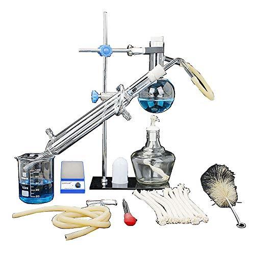 Mezclador Agitador Magnético De Laboratorio, Conjunto De Unidad De Destilación Vajilla De Laboratorio Destilador De Ciencia Industrial Purificación Pura De Rocío Fabricación De Aceites Esenciales Filt