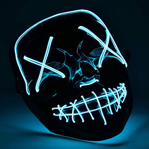 Eulan LED Neon Mask Halloween Party Mask from The Purge Election Year Festival Adult Luminous Light Glow In Dark Skull Cosplay Costume (Ice Blue led mask) (Glow In Dark Halloween-party The)