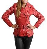Damen Lederjacke Tailliert Hüfte Länge Taille Gürtel Biker Style Celia Rot (XXL (44))
