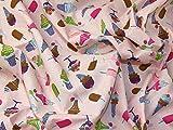 Eis Print Polycotton Kleid Stoff pink–Meterware