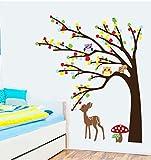 QTXINGMU Wall Sticker Eulen Sika Deer Abnehmbare Wand Aufkleber Die Lebensbedingungen Der Zimmer Kinderzimmer Dekoration Aufkleber