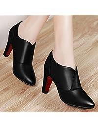 AJUNR-Zapatos De Mujer De Moda Sugerencia De 8Cm De Espesor, Con Un Viento De Otoño De Nueva Inglaterra Zapatos Zapatos De Mujer Salvaje Puerto Profundo Trabajo Negro 35
