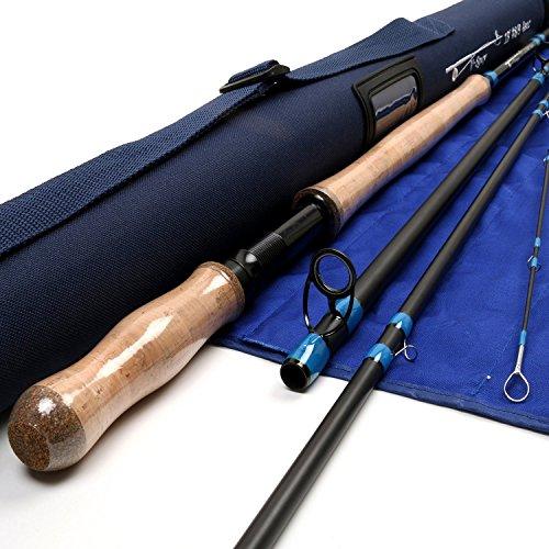 Maxcatch Spey Fliegenrute 4-teilig Carbon Spey Ruten Fliegenfischen mit Cordura Tube (13ft 8/9 weight)