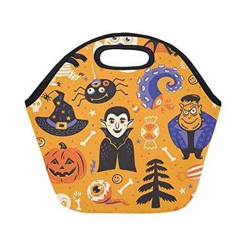 nch-Tasche Happy Halloween Set Charaktere Symbole Große wiederverwendbare thermische Dickes Mittagessen Tragetaschen Für Brotdosen Für den Außenbereich, Arbeit, Büro, Schule ()