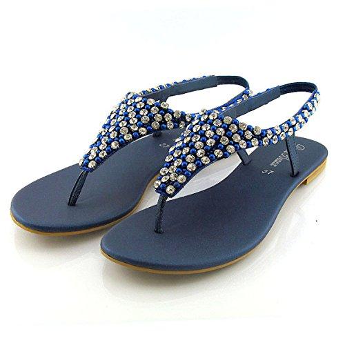 ESSEX GLAM Sandalo Donna Infradito Finto Diamante Perlato Cinturino Posteriore Azzurro