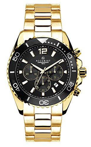Accurist Men's Quartz Watch with Black Dial Chronograph Display and Gold Bracelet 7208