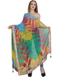 Exotic India Multicolored Tie-Dye Printed Dupatta From Jodhpur With Gota Border - Color Green And Yellowcolor...