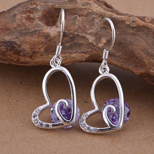Boucles d'oreilles coeur cristal swarovski elements zirconium argent 925 Violet
