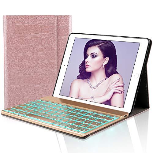 D DINGRICH Tastatur Hülle für iPad 2018 (6th Gen) - iPad 2017 (5th Gen) - iPad Pro 9.7 - iPad Air 2 & 1-7 Farben Hinterleuchtet- QWERTZ Tastatur- Magnetischen Schlaf/Wach- ipad 9.7 Tastatur Hülle... (Ipad Air 2 Case Ohne Tastatur)