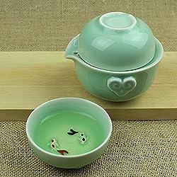GENERIC A : Drinkware coffee teaware ceramic teapot tea pot longquan fish cup kung fu travel tea set convenience office teaset