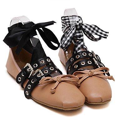 Confortevole ed elegante piatto scarpe donna appartamenti rientrano altri Casual in similpelle tacco piatto nero mandorla almond