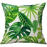 Westeng 1 pcs Funda de cojín de lino Funda de almohada con patrón de plantas tropicales Almohada Caso de la Cubierta del Amortiguador Decorativo(con exclusión de almohada)