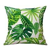 CAOLATOR Baumwolle Kissenbezüge Tropische Pflanzen Blätter Dekorative Setzen Fall Sofa Kissenbezug 45*45cm