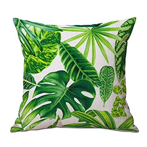 JUNGEN Linen Cushion Cover Pillow Case with Tropical Plant Pattern for Home Decoration