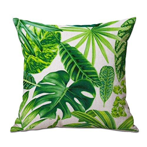 cosanter cojín Tropical verde hojas de planta manta funda de almohada para...