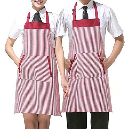 aspire réglable Couple Tabliers avec Poche pour Femme Restaurant Tablier pour Homme Serve à Rayures Tabliers de Chef, Polyester, Red, 2 Packs