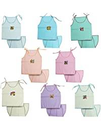 Kurtzy New Born Baby Dress Pure Cotton Jabla Clothing with Nappies (0-6 Months)(Set of 8)