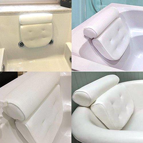 Badewannenkissen | Weiches Badekissen für Eine Traumhafte Zeit in der Badewanne Oder im Whirlpool mit Nackenkissen | Wannenkissen mit Starken Saugnäpfen zur Erholung im Home Spa 3D