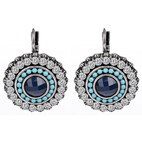 Shining Diva Fashion Jewellery Oxidised Silver Stylish Earrings for Women (Blue, 9792er)