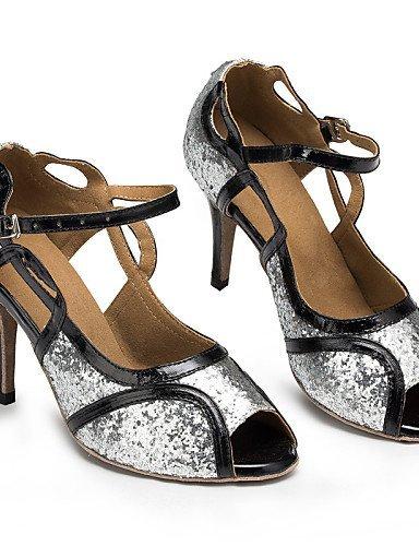 ShangYi Chaussures de danse ( Argent ) - Personnalisables - Talon Personnalisé - Satin / Similicuir / Paillette - Latine / Salsa / Samba Silver