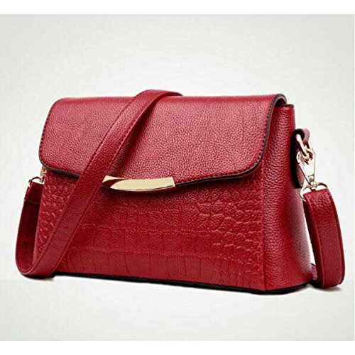 Damenmode-Schultertasche Handtasche Lässige Ledertasche redwineB